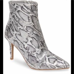 BP Maisie Silver Snakeskin Ankle Booties Size 6